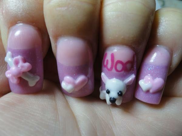 Puppy nail art my art pinterest animal nail designs puppy nail art prinsesfo Image collections