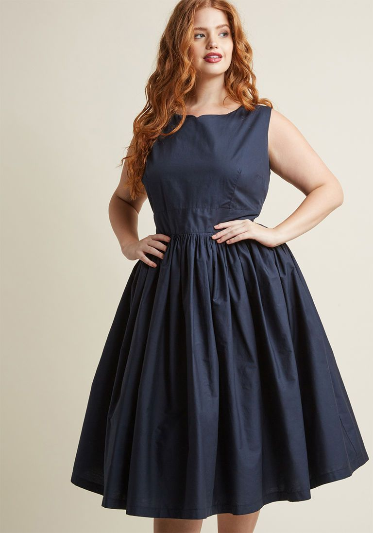 Fabulous Fit And Flare Dress With Pockets In Navy Flare Dress Outfit Mod Cloth Dresses Flare Dress
