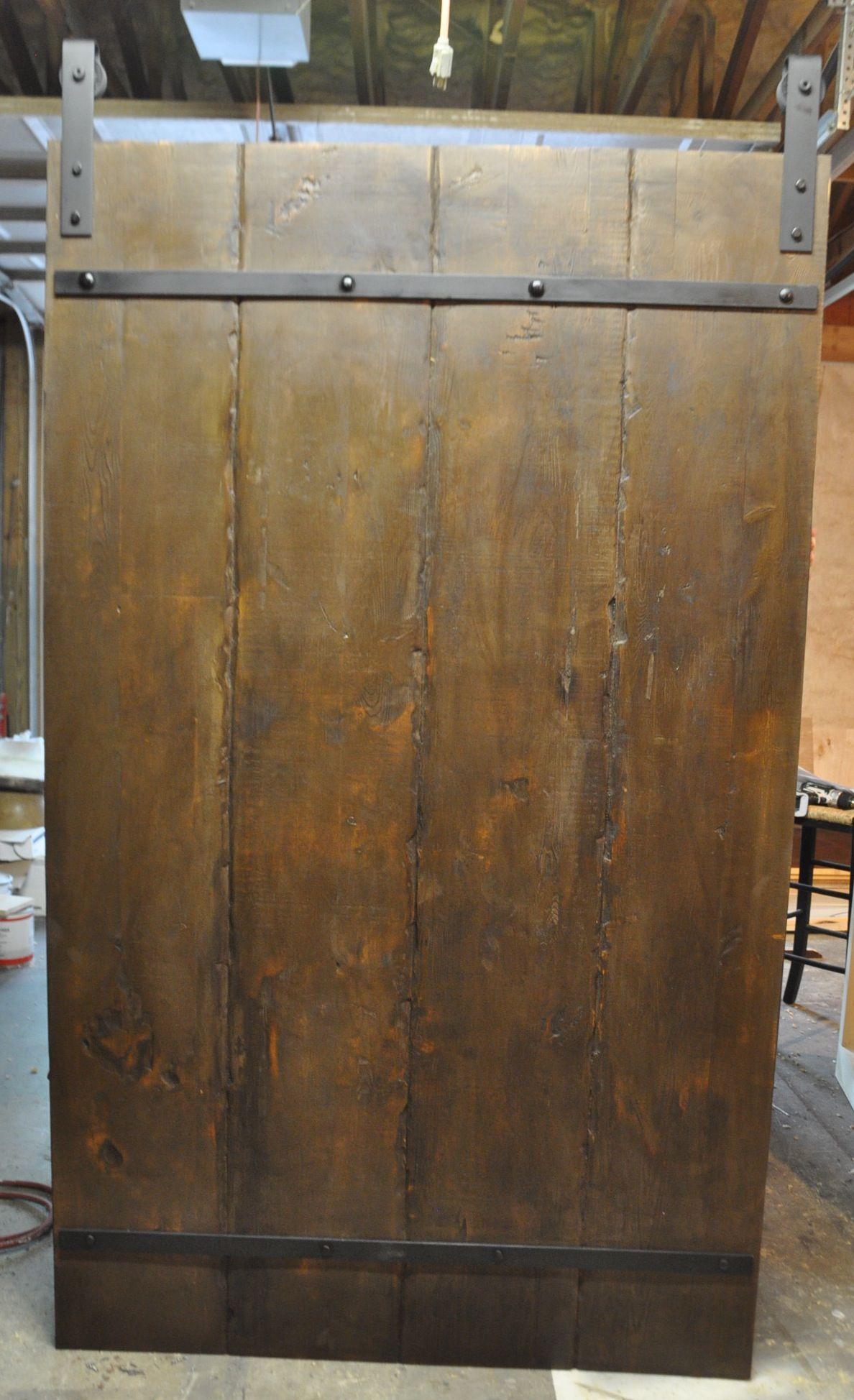 Custom Pine Barn Door With Rustic Metal Straps Www