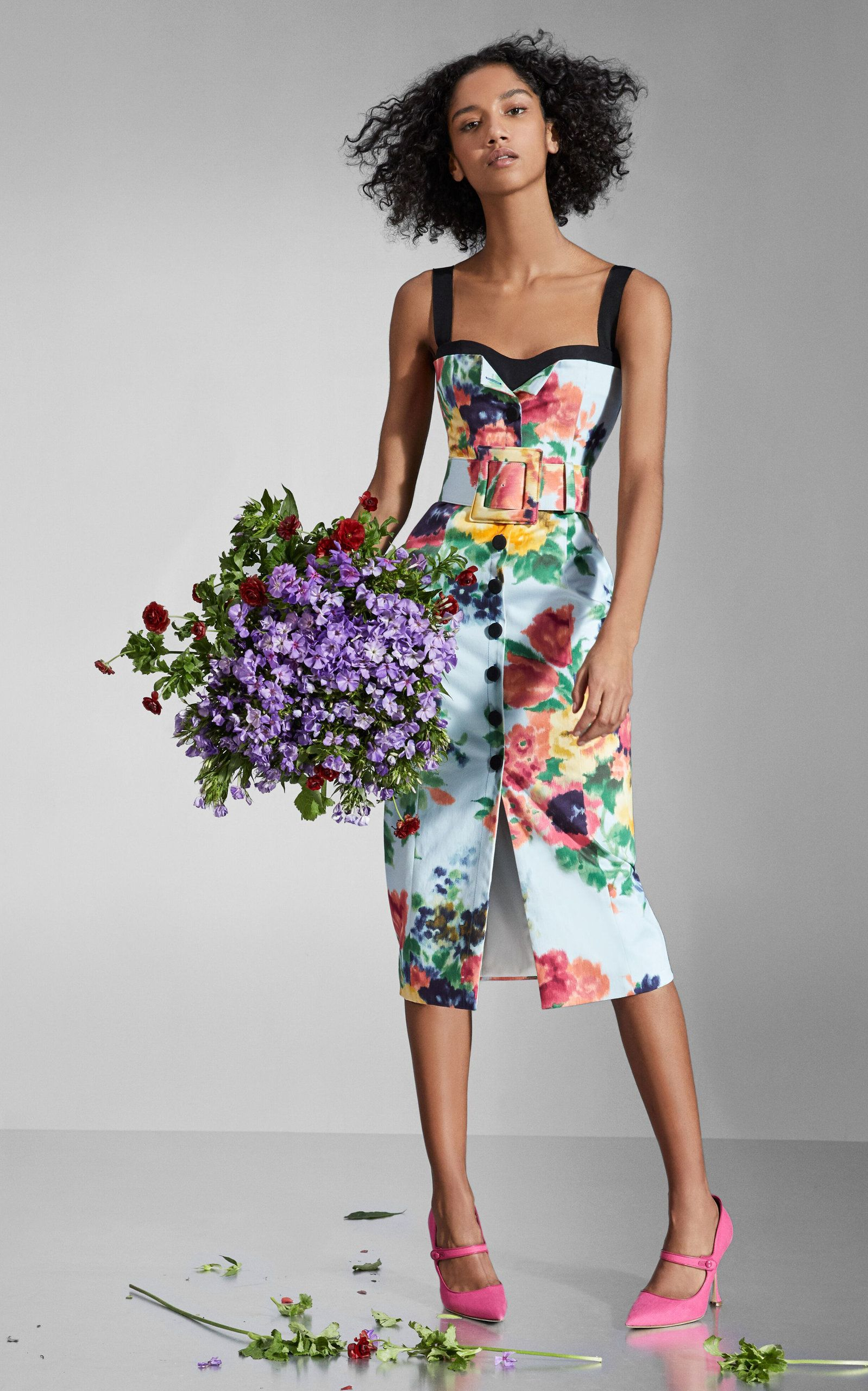 Ceinture Boucle Carrée Imprimé Floral Bouquet Large par Carolina Herrera | Moda Operandi   – Products