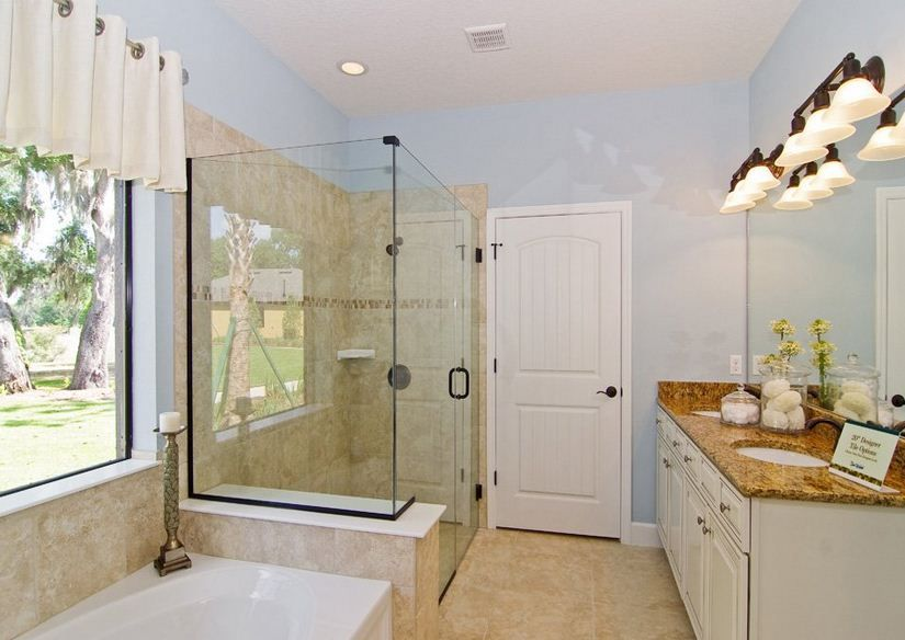 The zero entry shower and large counter says it all: beautiful Del Webb  Bathroom!