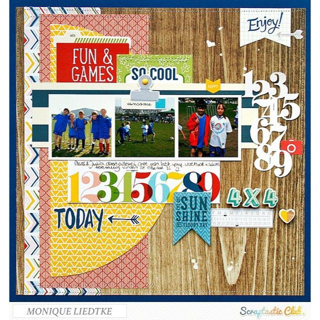 Scrapbook page created by designer Monique LIedtke using the Scraptastic Club I Lived kit + add-on