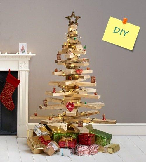 diy decoracion rbol de navidad original con listones de madera