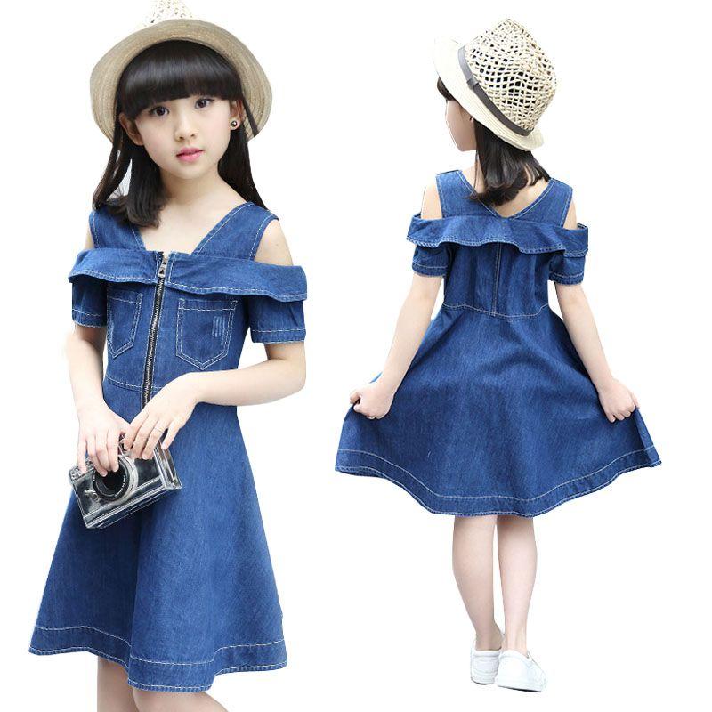 Summer Kids Baby Girls Princess Dress Toddler Denim Off Shoulder Skirt Sundress