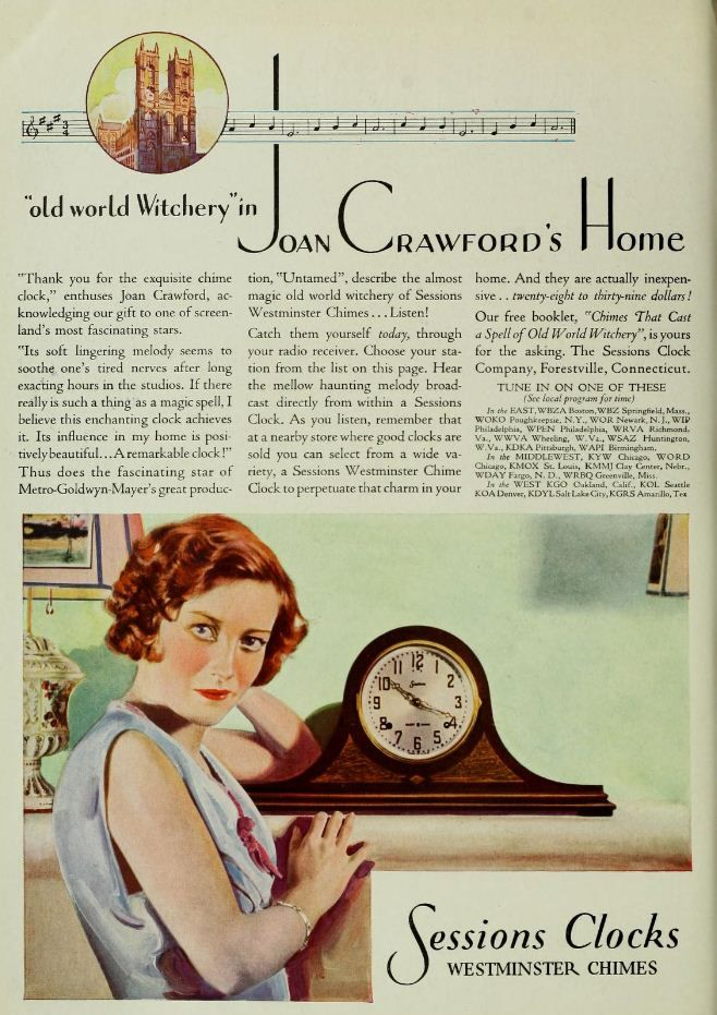 Vintage Advert for Sessions Clocks with Joan Crawford - Photoplay