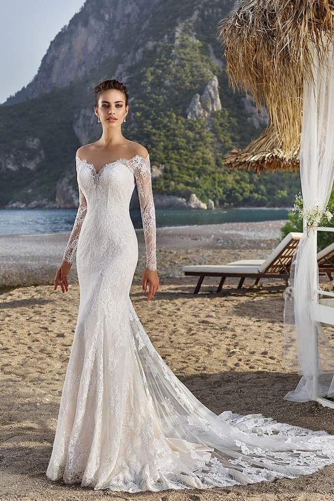 Eddy K. Bali in 2020 Sheath wedding dress lace, Long