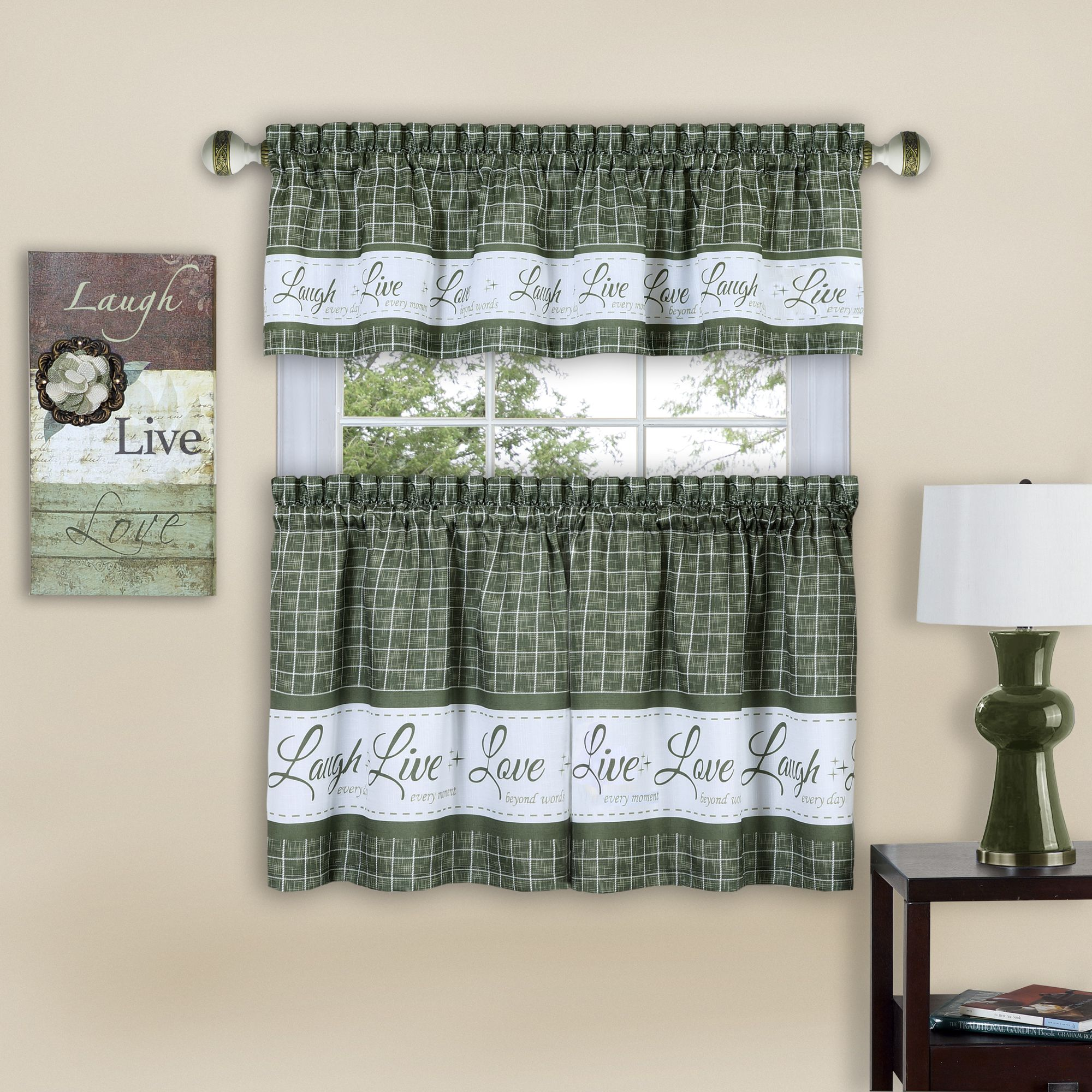 Achim Live Love Laugh Window Curtain Tier Pair And Valance Set