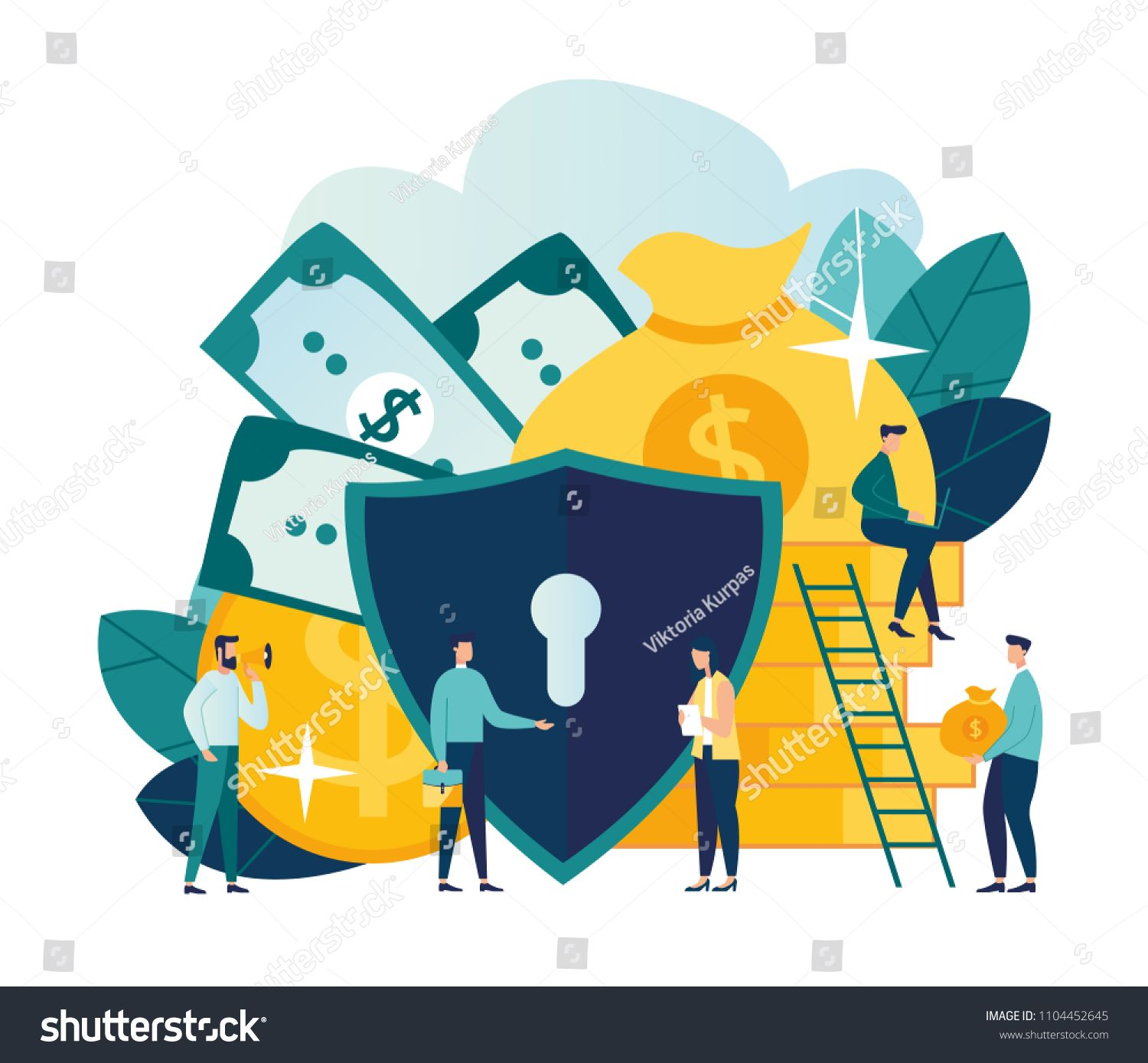 Vector flat illustration, concept of money protection
