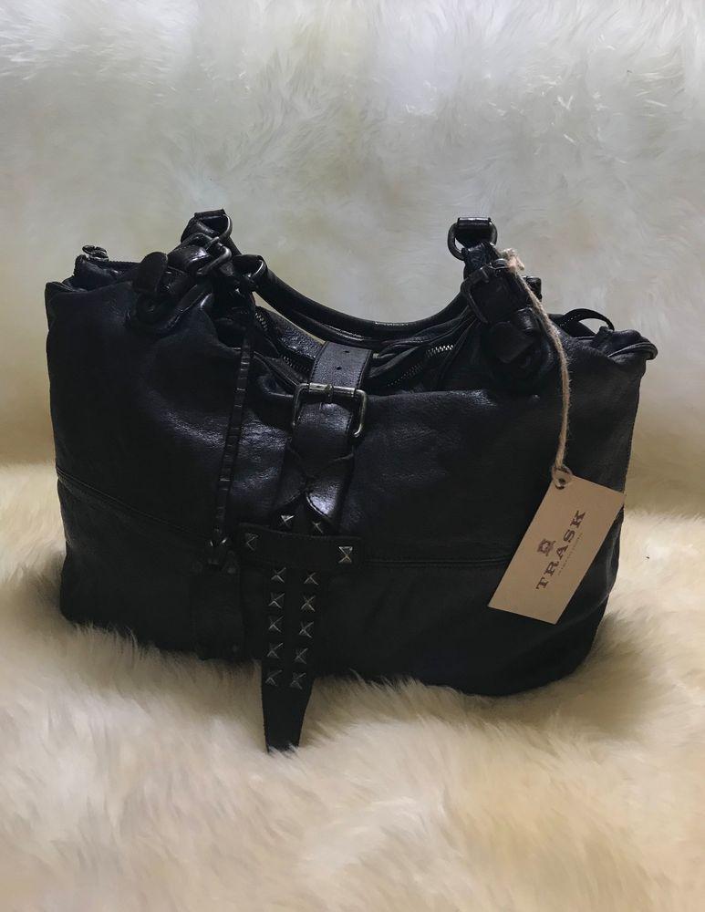 3db5456fba56 Laurel Satchel Trask Bag Black New Italian Leather Double shoulder ...