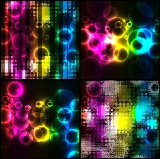مجموعة خلفيات مضيئة باللون الأسود الراقى فيكتور Colorful Light Background Vector Download Lights Background Novelty Lamp Light Colors