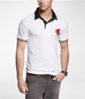 de4b8805 FITTED LARGE LION RUGBY COLLAR POLO | Express Polo Express, Express Men,  Gentlemen Wear