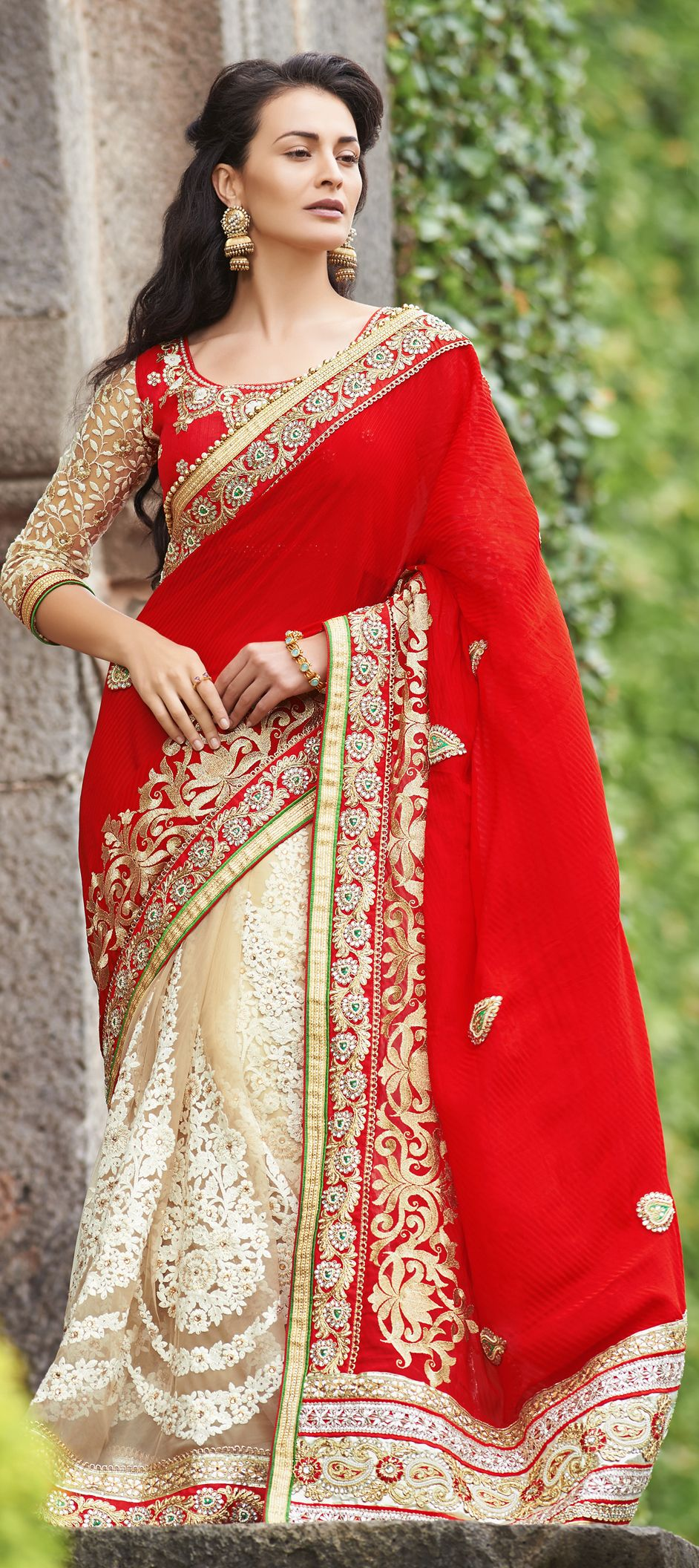 150140: Red and Maroon, Beige and Brown color family Saree with ...