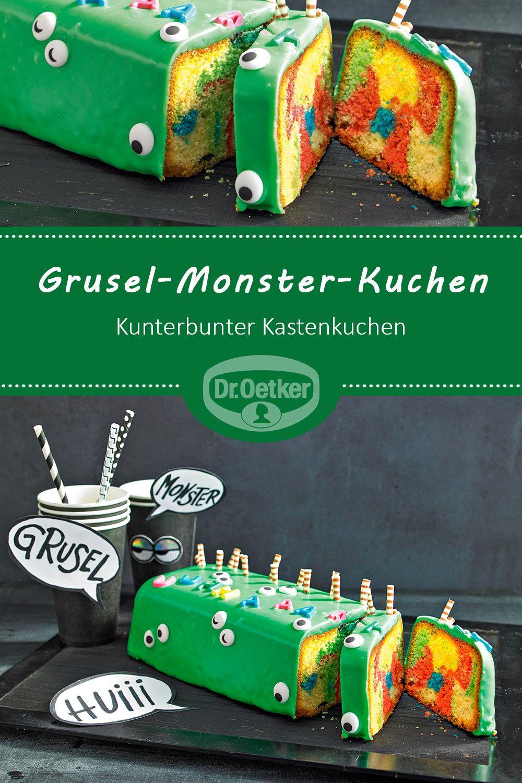 Grusel-Monster-Kuchen: Kunterbunter Kastenkuchen mit grüner Canache überzogen und monstermäßig dekoriert #halloween #monsterparty #halloweenessen