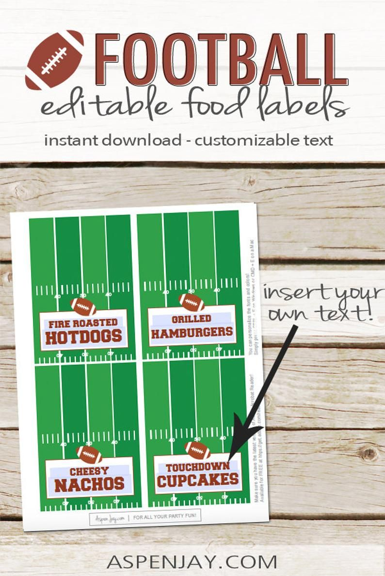 Football Tent Cards DIY Editable Food Labels Instant ...