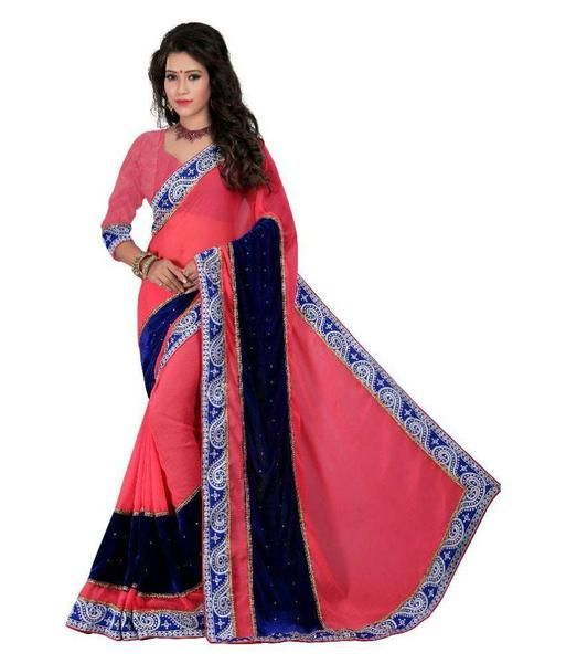0d1ba7dc9e #Online shopping for #Partywear Designer Velvet Sarees Broad Border With Plain  Blouse available at