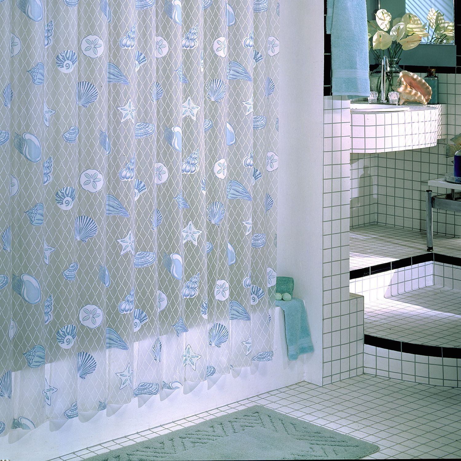 Excell Seaside Shower Curtain Blue Seaside Shower Curtain Multi