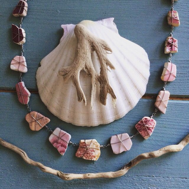 Wire wrapped pink and crimson Red Sea pottery necklace   https://folksy.com/shops/beachSHACKproject