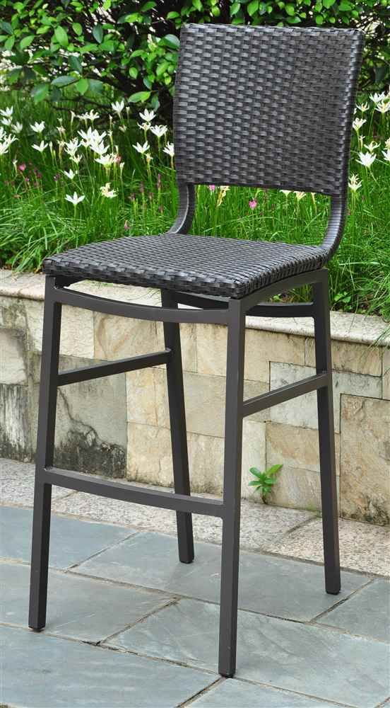 Wicker Resin Aluminum Patio Bar Stool Set of 2 Patio