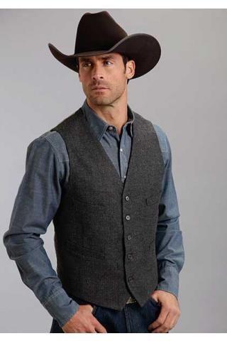 Grey Wool Herringbone Stetson Men S Collection Original Rugged Vests Urban Western Wear Mens Western Vest Mens Western Wear Western Vest