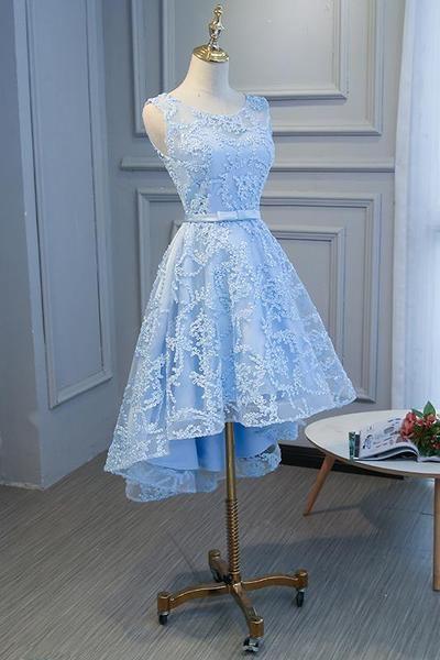 Blue High Low Fashionable Homecoming Dress, Cute Prom Dress