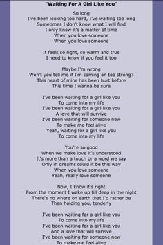 Foreigner Waiting For A Girl Like You Love Songs Lyrics