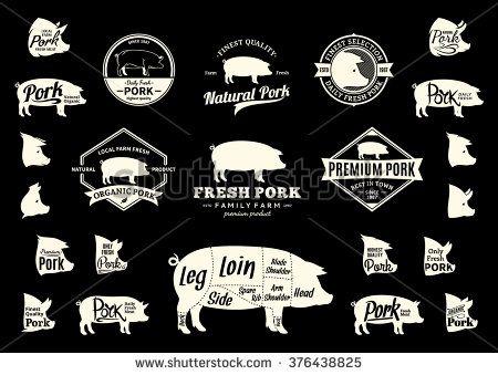 set of pork logo butchery labels with sample text pork design