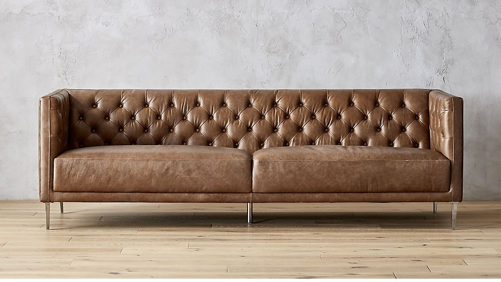 The Sofa Trend Slowly Taking Over Instagram Tufted Sofa Leather Sofa Leather Furniture