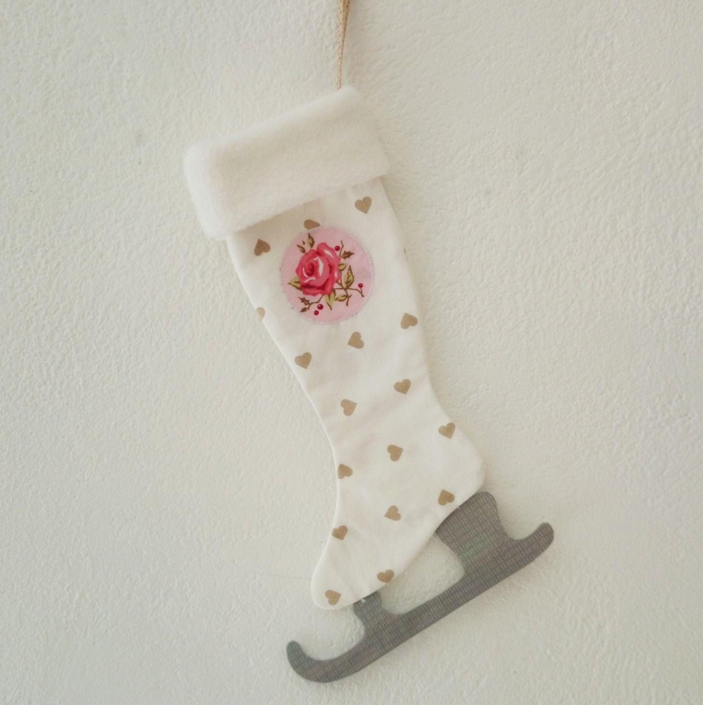 Patin à glace/Chaussette de Noël Syle Shabby Chic inspiration Tilda ...