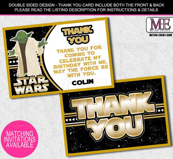 Star Wars Thank You Cards, Star Wars cards, Star Wars, Starwars thank you notes,Starwars Thank You Card