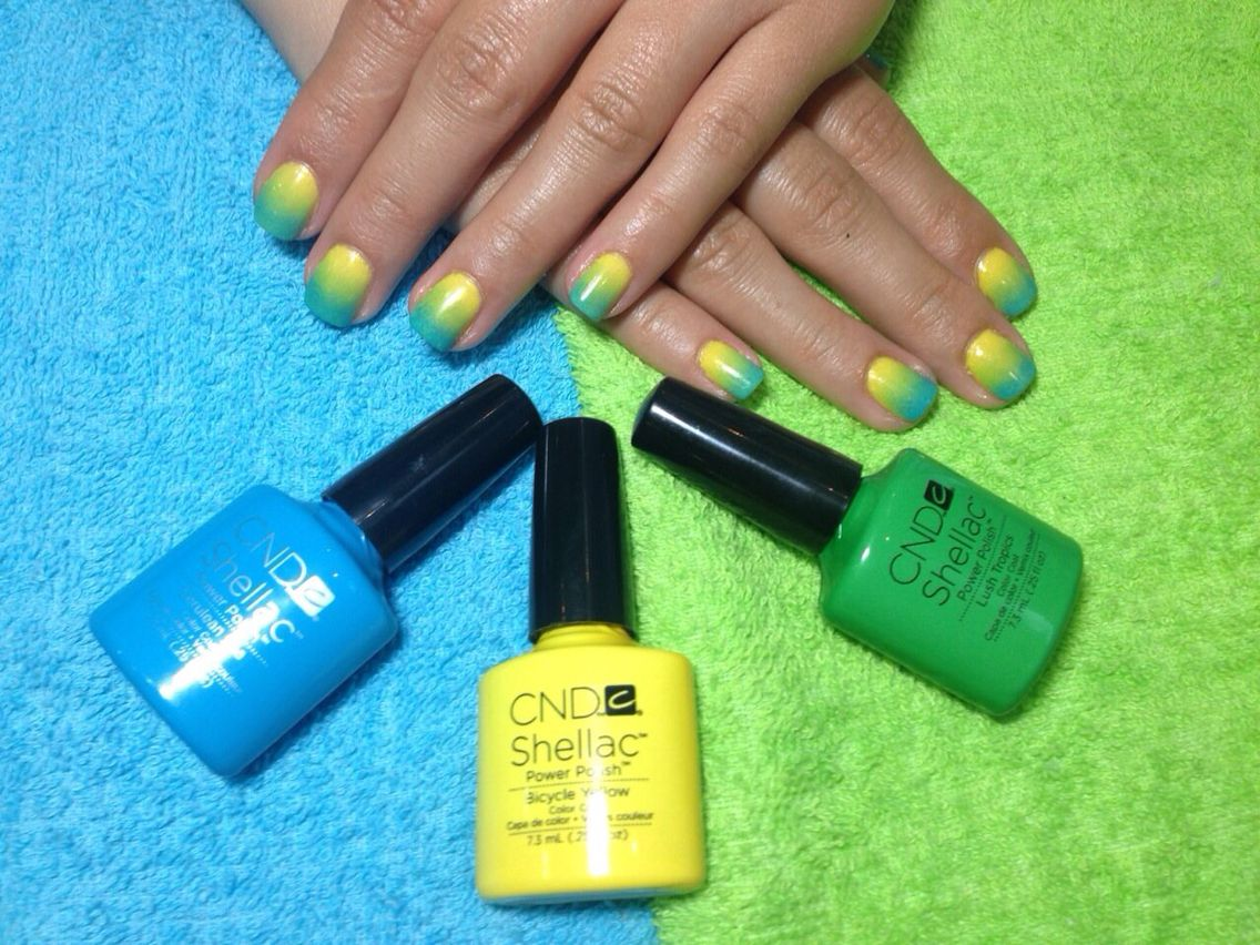 cnd #manicure #fresh #summer #nails #blue #green #yellow #ombre ...