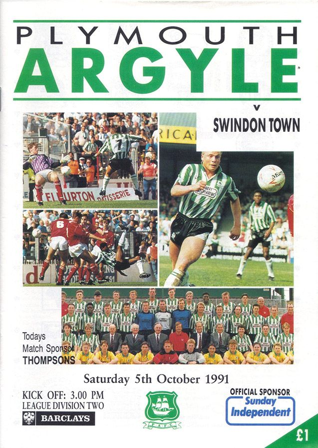 Plymouth 0 Swindon T 4 in Oct 1991 at Home Park. The