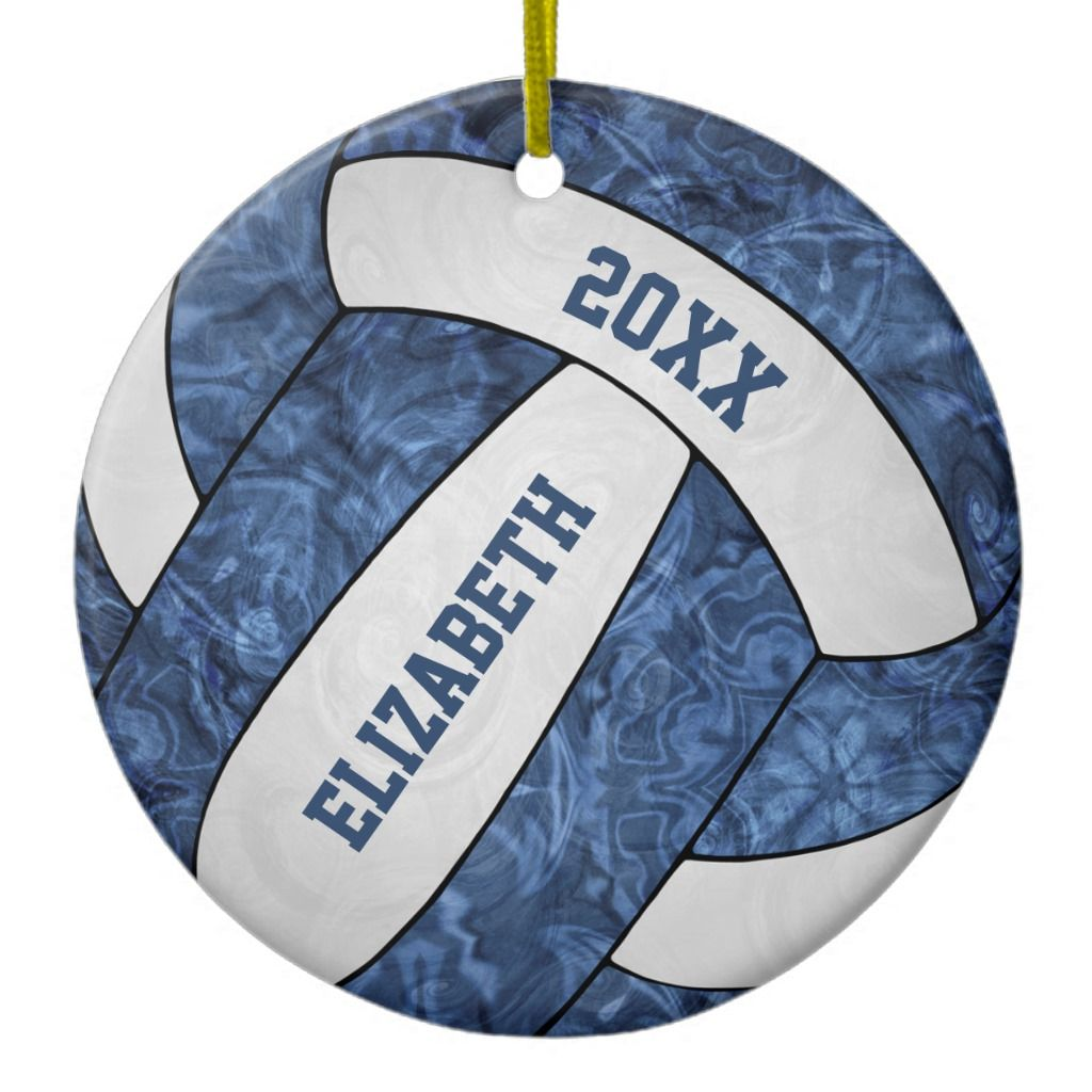Blue And White Girls Volleyball Ceramic Ornament Zazzle Com In 2020 Ceramic Ornaments Volleyball Ornaments Blue And White