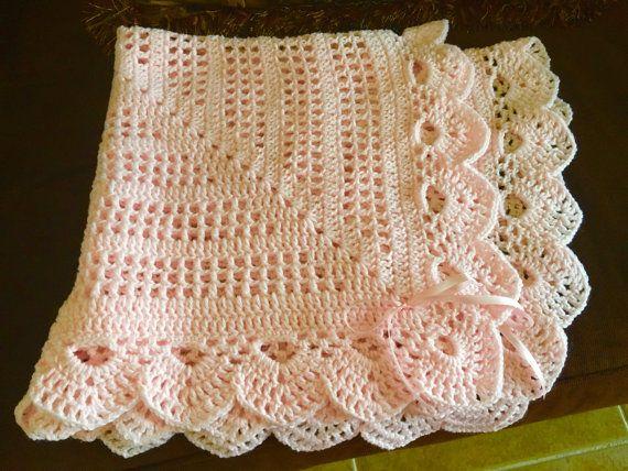 Crochet delicate pink baby girl blanket w/bows 31 x 31 | Regalos de ...