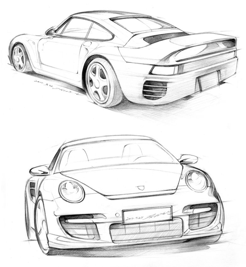 Car Sketch Practice Worked in A4 / 4B Pencil 20100731 | Voitures ...
