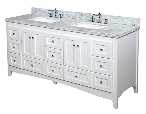 abbey 72-inch double bathroom vanity (carrara/white): includes