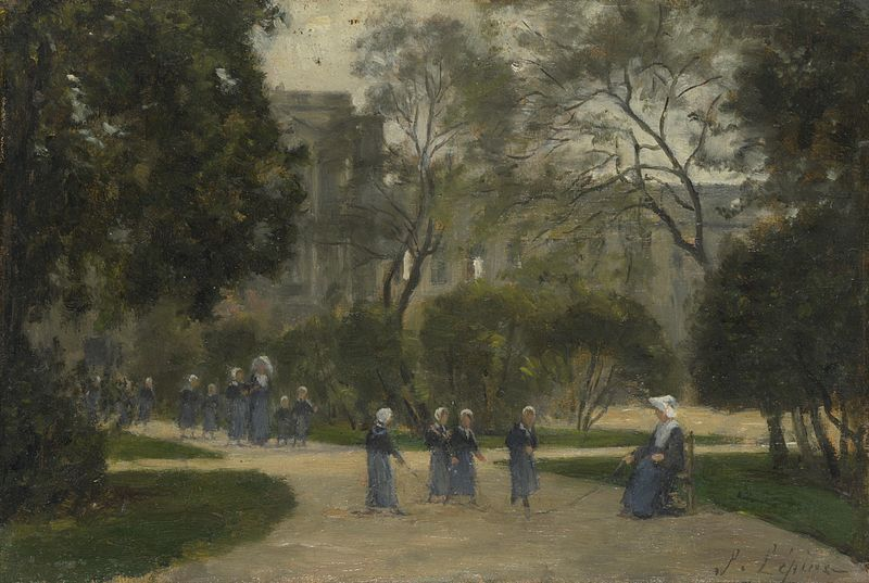 """""""Nuns and Schoolgirls in the Tuileries Gardens, Paris"""", 1883. Stanislas Lépine (1835–1892), French painter. National Gallery, London."""