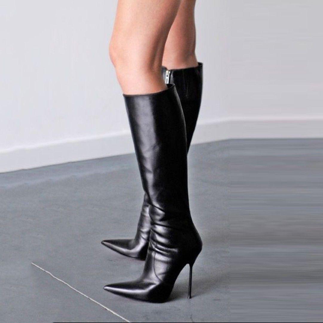 Shoespie Stylish Black Pointed Toe Stiletto Heel Knee High Boots  #stilettoheelspointed