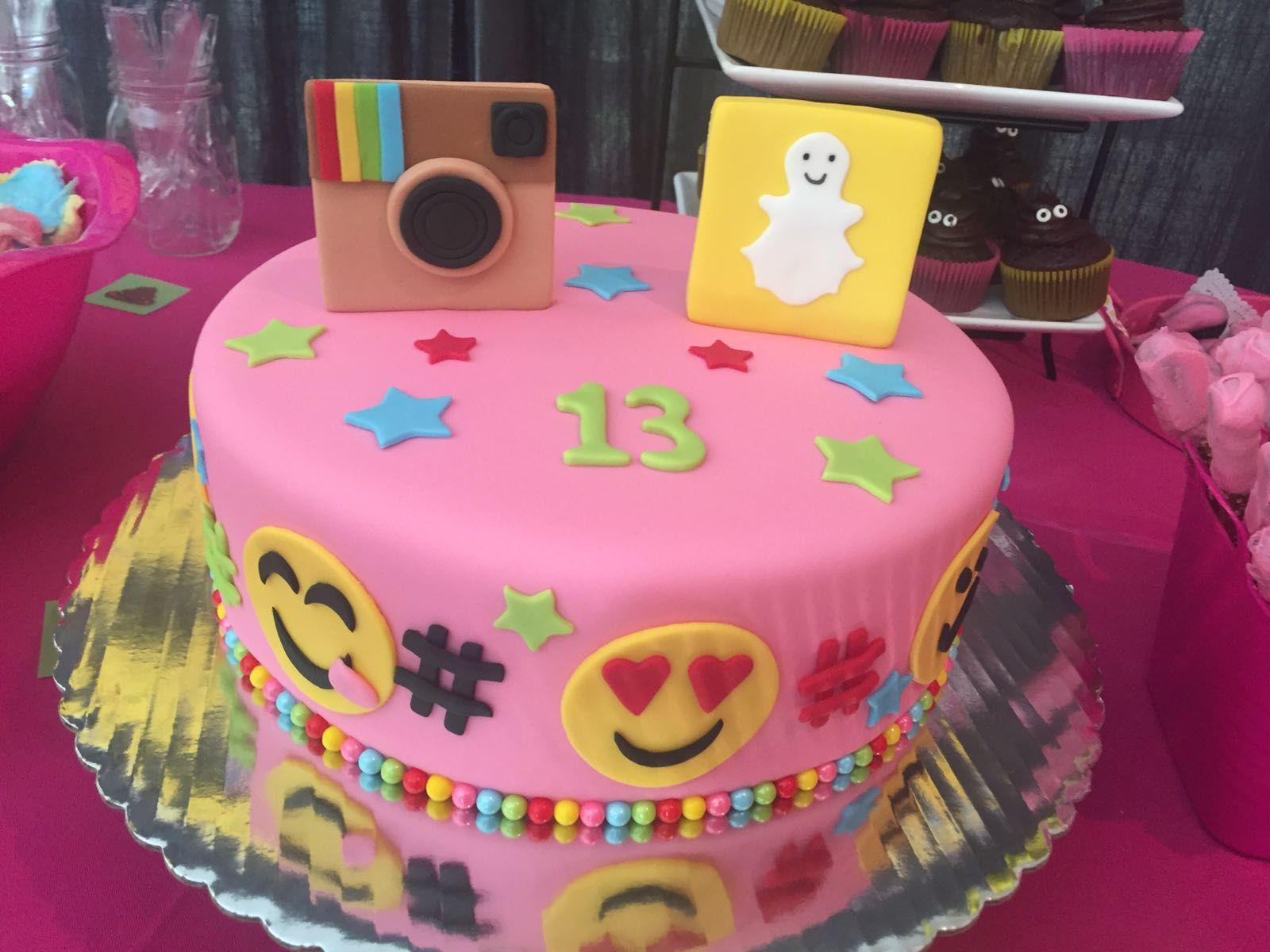 Social Media Theme Cake For A 13th Birthday Party Snapchat