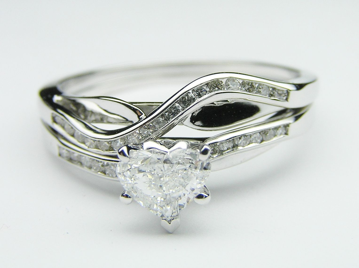 Swirl pattern white gold wedding ring for brides fashion fill - Petite Swirl Design Heart Shape Engagement Ring With Channel Set Round Diamond Accents