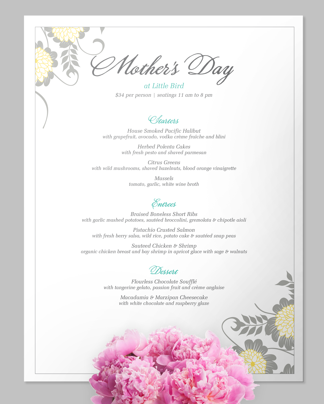 Pretty as a picture Mother\'s Day Menu #MothersDay #brunch #event ...