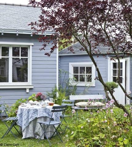 blue grey wall house