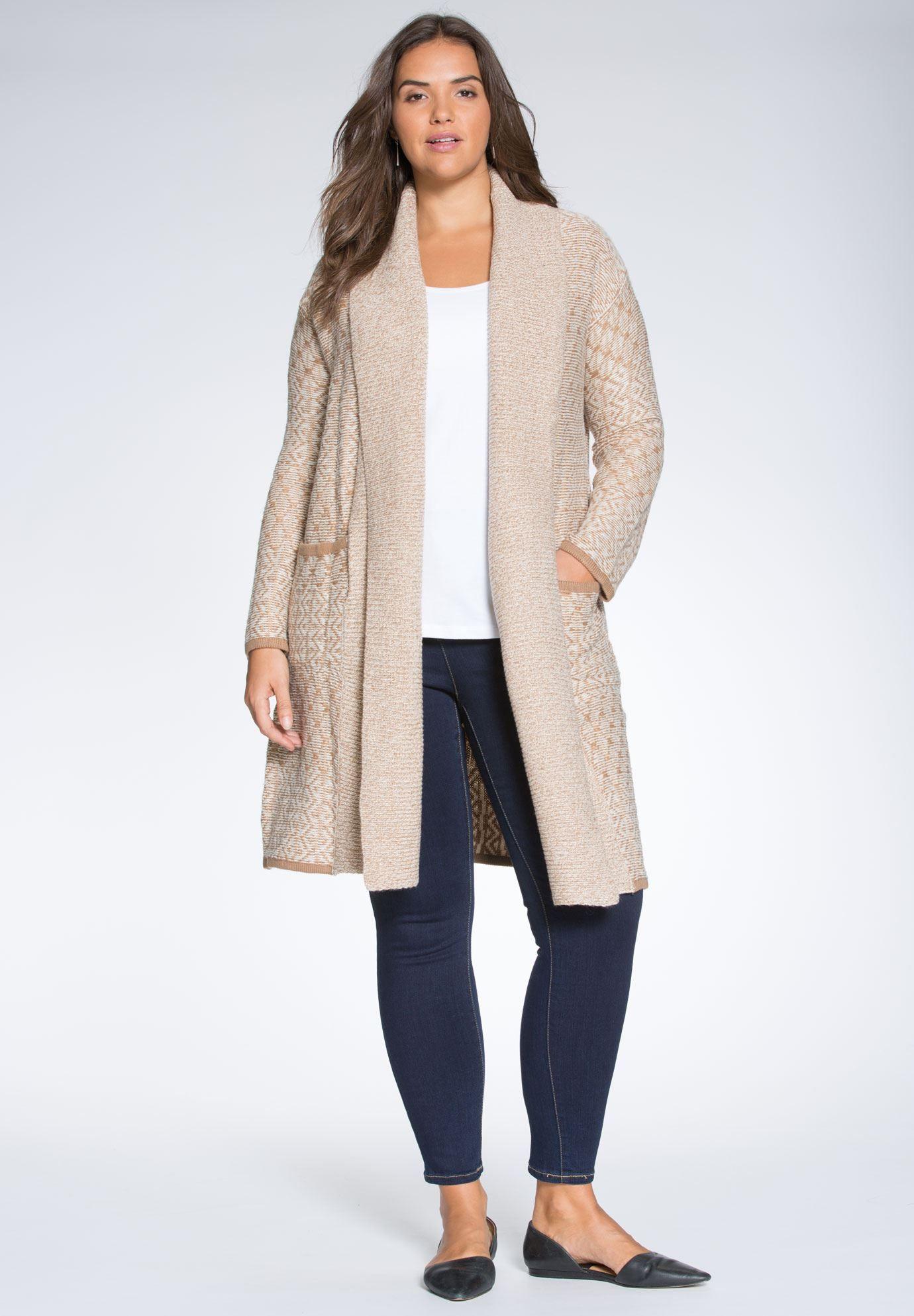 Plus Size Long shawl collar open front cardigan
