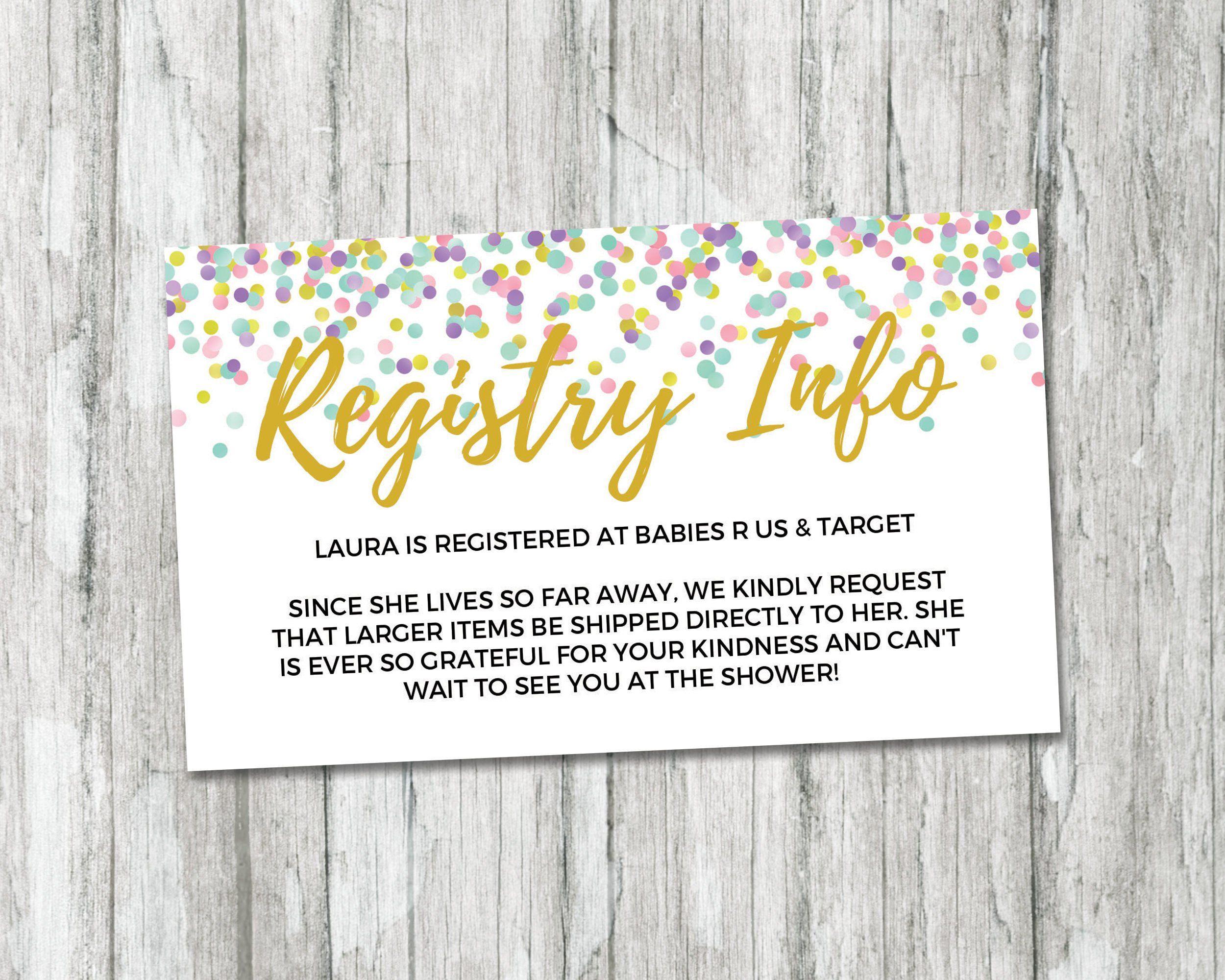 Rainbow Baby Shower Gift Registry Card, Registry Info Card