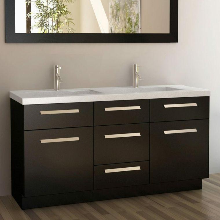 Meuble Salle De Bain Ikea Noir Avec Cinq Tiroirs Et Deux Placards Double Sink Vanity Double Vanity Bathroom Vanity Sink