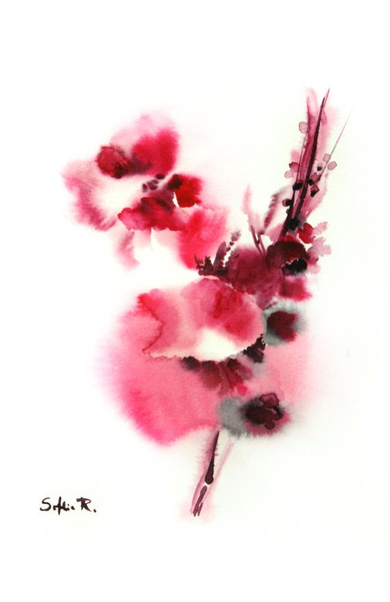 Desire And Fidelity Original Watercolor Painting Pink Etsy Watercolor Paintings Watercolor Paintings Abstract Flower Art