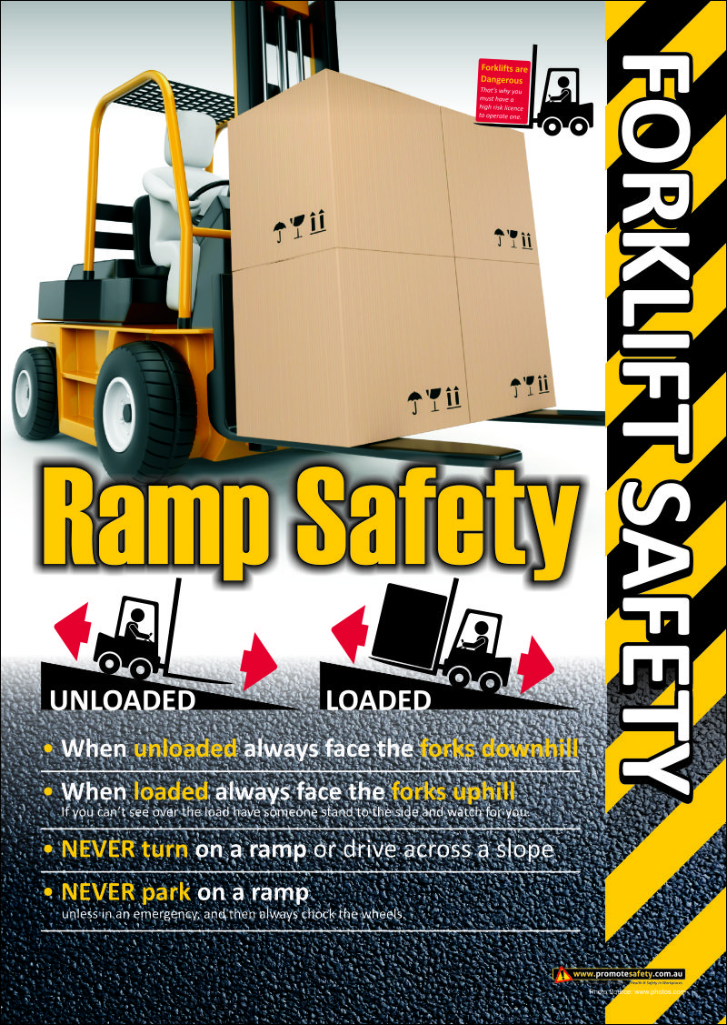 Forklift Safety Poster about working safely on ramps