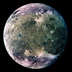 Galileo false-color image of Ganymede showing surface features (NASA/JPL)