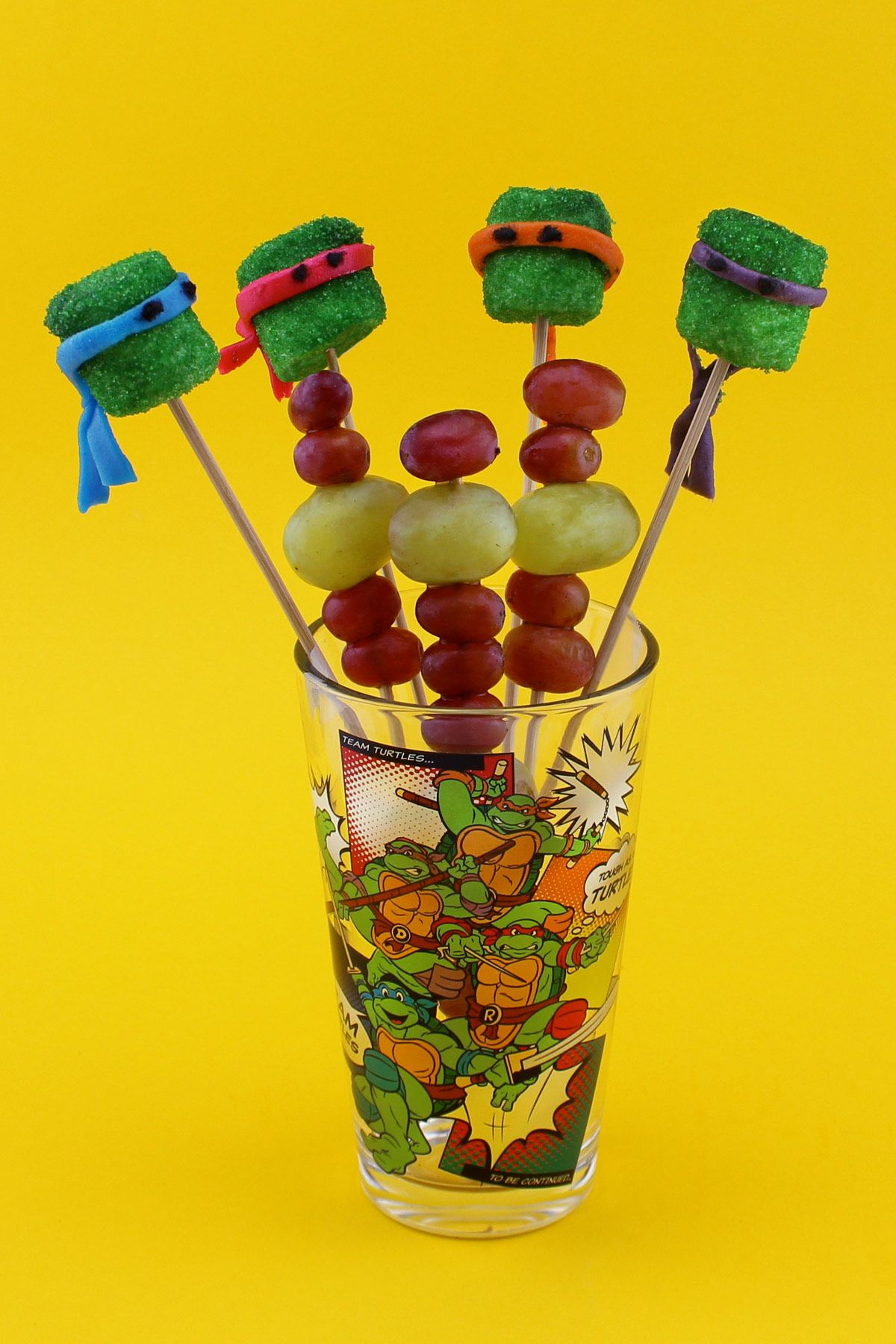 Coat marshmallows in sprinkles for a delicious and adorable Ninja Turtles treat!