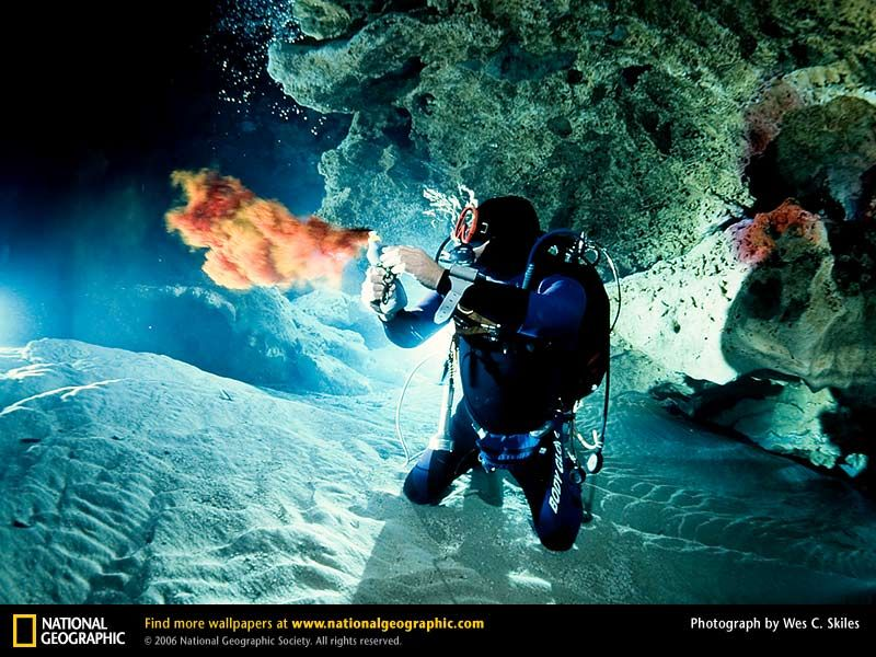 Cave diving in Ginnie Springs, Fl.