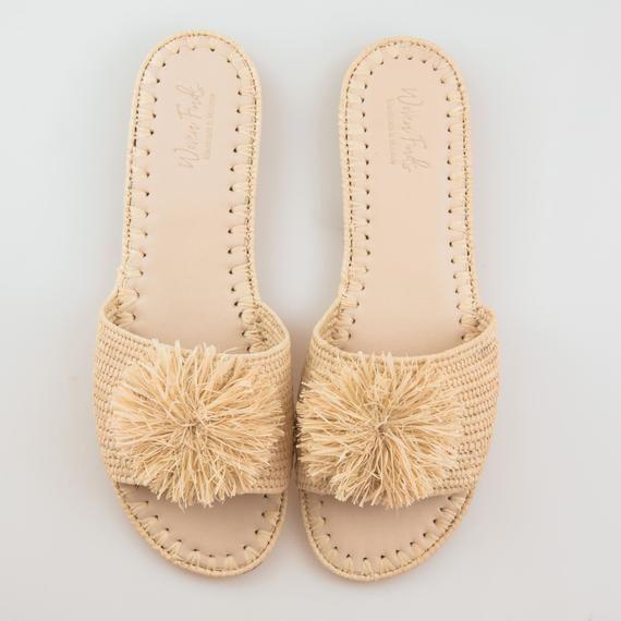 Beach Slippers, Sandals , Straw Sandals Bohemian, raffia